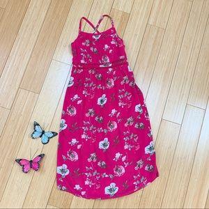 OLD NAVY pink floral maxi dress, girls M 8.